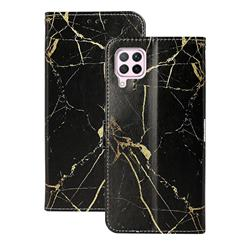 Black Gold Marble PU Leather Wallet Case for Huawei P40 Lite