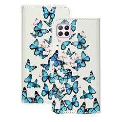 Blue Vivid Butterflies PU Leather Wallet Case for Huawei P40 Lite