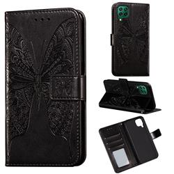 Intricate Embossing Vivid Butterfly Leather Wallet Case for Huawei P40 Lite - Black