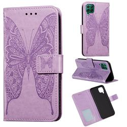 Intricate Embossing Vivid Butterfly Leather Wallet Case for Huawei P40 Lite - Purple