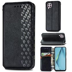 Ultra Slim Fashion Business Card Magnetic Automatic Suction Leather Flip Cover for Huawei P40 Lite - Black
