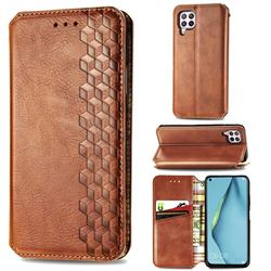 Ultra Slim Fashion Business Card Magnetic Automatic Suction Leather Flip Cover for Huawei P40 Lite - Brown