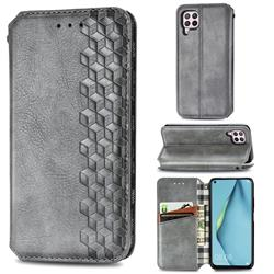 Ultra Slim Fashion Business Card Magnetic Automatic Suction Leather Flip Cover for Huawei P40 Lite - Grey