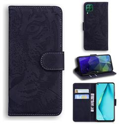 Intricate Embossing Tiger Face Leather Wallet Case for Huawei P40 Lite - Black