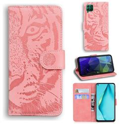 Intricate Embossing Tiger Face Leather Wallet Case for Huawei P40 Lite - Pink
