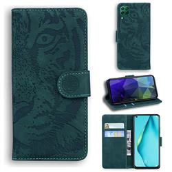 Intricate Embossing Tiger Face Leather Wallet Case for Huawei P40 Lite - Green