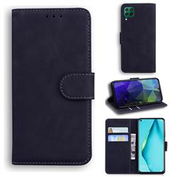 Retro Classic Skin Feel Leather Wallet Phone Case for Huawei P40 Lite - Black