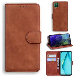 Retro Classic Skin Feel Leather Wallet Phone Case for Huawei P40 Lite - Brown