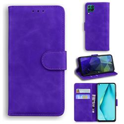 Retro Classic Skin Feel Leather Wallet Phone Case for Huawei P40 Lite - Purple
