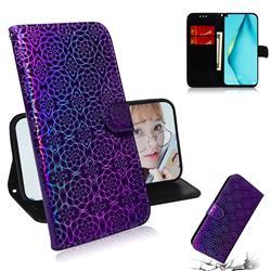Laser Circle Shining Leather Wallet Phone Case for Huawei P40 Lite - Purple