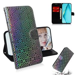 Laser Circle Shining Leather Wallet Phone Case for Huawei P40 Lite - Silver
