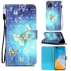 Gold Butterfly 3D Painted Leather Wallet Case for Huawei P40 Lite