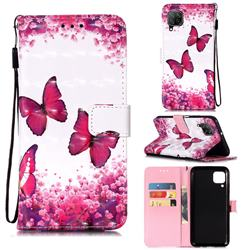 Rose Butterfly 3D Painted Leather Wallet Case for Huawei P40 Lite