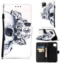 Skull Flower 3D Painted Leather Wallet Case for Huawei P40 Lite