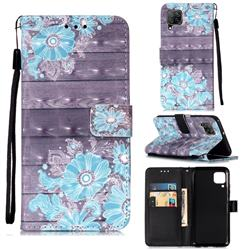 Blue Flower 3D Painted Leather Wallet Case for Huawei P40 Lite