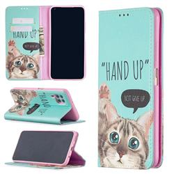 Hand Up Cat Slim Magnetic Attraction Wallet Flip Cover for Huawei P40 Lite