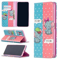 Elephant Boy and Girl Slim Magnetic Attraction Wallet Flip Cover for Huawei P40 Lite