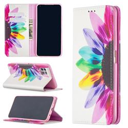 Sun Flower Slim Magnetic Attraction Wallet Flip Cover for Huawei P40 Lite