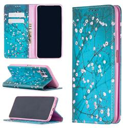 Plum Blossom Slim Magnetic Attraction Wallet Flip Cover for Huawei P40 Lite