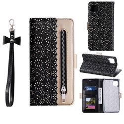 Luxury Lace Zipper Stitching Leather Phone Wallet Case for Huawei P40 Lite - Black