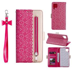 Luxury Lace Zipper Stitching Leather Phone Wallet Case for Huawei P40 Lite - Rose