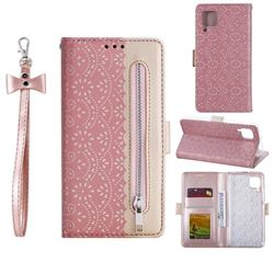 Luxury Lace Zipper Stitching Leather Phone Wallet Case for Huawei P40 Lite - Pink