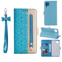Luxury Lace Zipper Stitching Leather Phone Wallet Case for Huawei P40 Lite - Blue