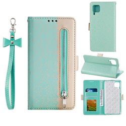 Luxury Lace Zipper Stitching Leather Phone Wallet Case for Huawei P40 Lite - Green