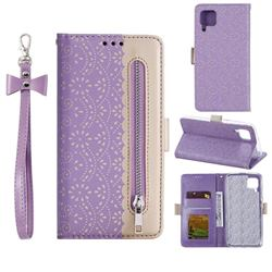 Luxury Lace Zipper Stitching Leather Phone Wallet Case for Huawei P40 Lite - Purple