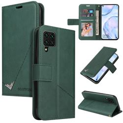 GQ.UTROBE Right Angle Silver Pendant Leather Wallet Phone Case for Huawei P40 Lite - Green