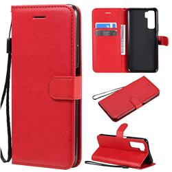 Retro Greek Classic Smooth PU Leather Wallet Phone Case for Huawei P40 Lite 5G - Red