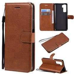 Retro Greek Classic Smooth PU Leather Wallet Phone Case for Huawei P40 Lite 5G - Brown