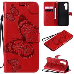 Embossing 3D Butterfly Leather Wallet Case for Huawei P40 Lite 5G - Red