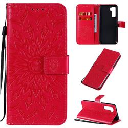 Embossing Sunflower Leather Wallet Case for Huawei P40 Lite 5G - Red