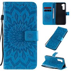 Embossing Sunflower Leather Wallet Case for Huawei P40 Lite 5G - Blue