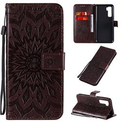 Embossing Sunflower Leather Wallet Case for Huawei P40 Lite 5G - Brown