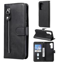 Retro Luxury Zipper Leather Phone Wallet Case for Huawei P40 Lite 5G - Black