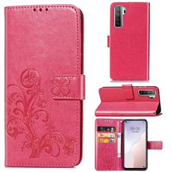 Embossing Imprint Four-Leaf Clover Leather Wallet Case for Huawei P40 Lite 5G - Rose Red