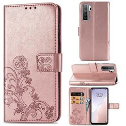 Embossing Imprint Four-Leaf Clover Leather Wallet Case for Huawei P40 Lite 5G - Rose Gold