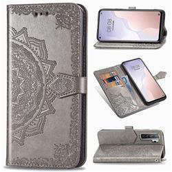 Embossing Imprint Mandala Flower Leather Wallet Case for Huawei P40 Lite 5G - Gray