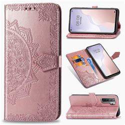 Embossing Imprint Mandala Flower Leather Wallet Case for Huawei P40 Lite 5G - Rose Gold