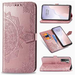 Embossing Imprint Mandala Flower Leather Wallet Case for Huawei P40 Lite 5G - Rose Gold