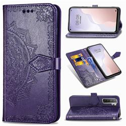 Embossing Imprint Mandala Flower Leather Wallet Case for Huawei P40 Lite 5G - Purple
