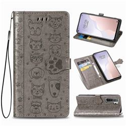 Embossing Dog Paw Kitten and Puppy Leather Wallet Case for Huawei P40 Lite 5G - Gray