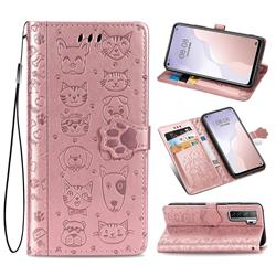 Embossing Dog Paw Kitten and Puppy Leather Wallet Case for Huawei P40 Lite 5G - Rose Gold