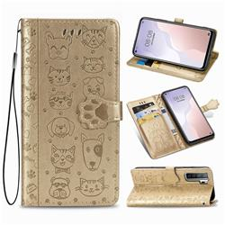 Embossing Dog Paw Kitten and Puppy Leather Wallet Case for Huawei P40 Lite 5G - Champagne Gold