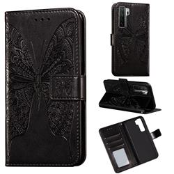 Intricate Embossing Vivid Butterfly Leather Wallet Case for Huawei P40 Lite 5G - Black