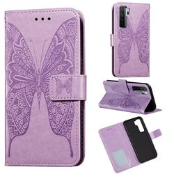Intricate Embossing Vivid Butterfly Leather Wallet Case for Huawei P40 Lite 5G - Purple