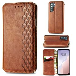 Ultra Slim Fashion Business Card Magnetic Automatic Suction Leather Flip Cover for Huawei P40 Lite 5G - Brown