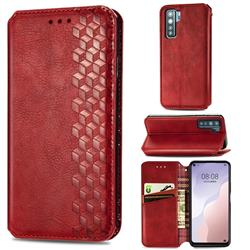 Ultra Slim Fashion Business Card Magnetic Automatic Suction Leather Flip Cover for Huawei P40 Lite 5G - Red